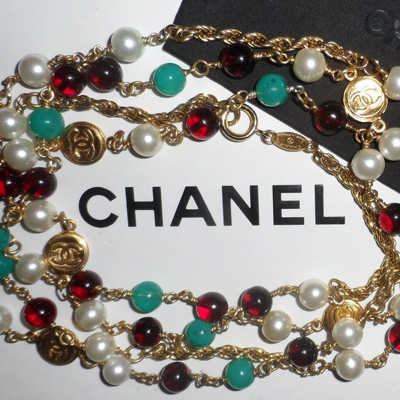 2bc4874a11e5 CHANEL Jewelry | Vintage Redgreen Pearl Logo Charm Necklace | Poshmark
